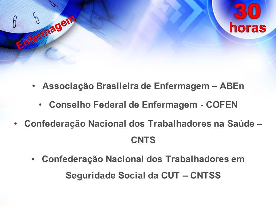 Segundo o IBGE, Pesquisa AMS, 2005 – 47% das ENFERMEIRAS/OS (e trabalhadores de enfermagem) do Brasil têm jornada menor que 40hs/sem.