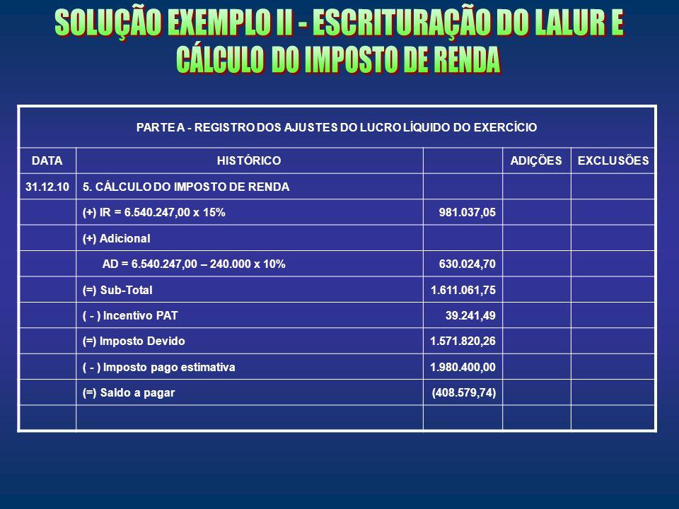 PARTE A - REGISTRO DOS AJUSTES DO LUCRO LÍQUIDO DO EXERCÍCIO DATAHISTÓRICOADIÇÕESEXCLUSÕES 31.12.105. CÁLCULO DO IMPOSTO DE RENDA (+) IR = 6.540.247,0