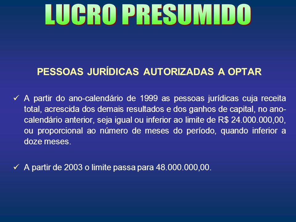 PESSOAS JURÍDICAS AUTORIZADAS A OPTAR A partir do ano-calendário de 1999 as pessoas jurídicas cuja receita total, acrescida dos demais resultados e do