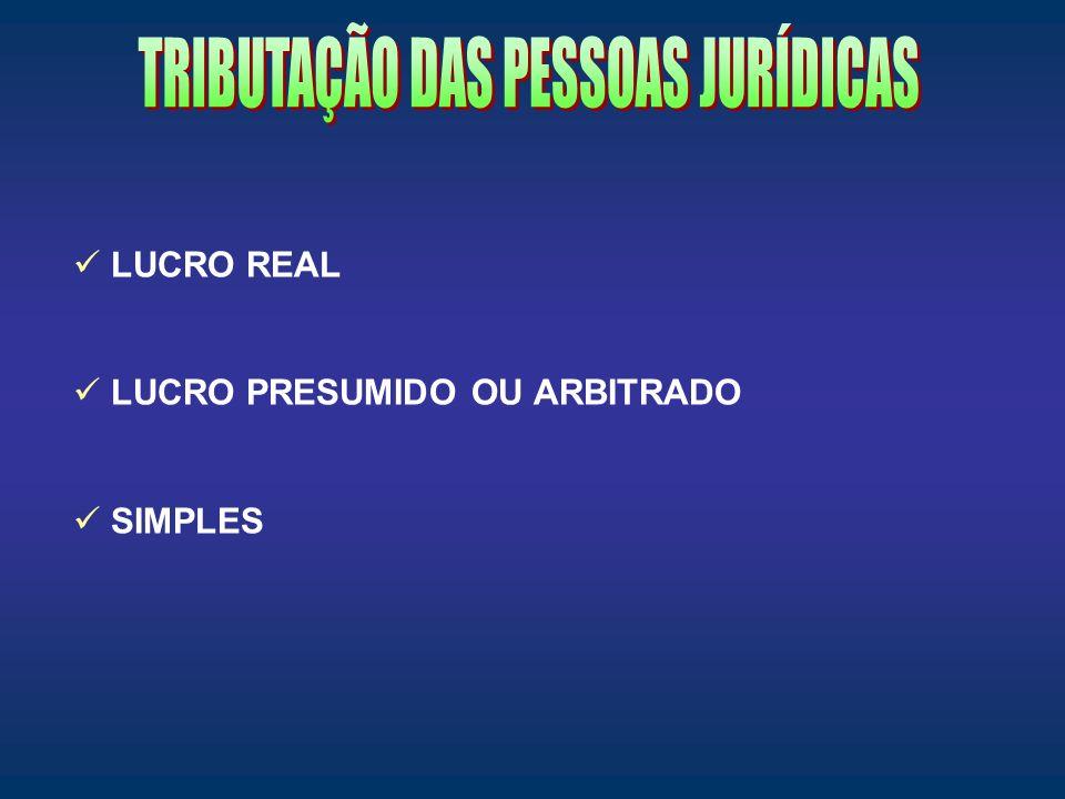 LUCRO REAL LUCRO PRESUMIDO OU ARBITRADO SIMPLES