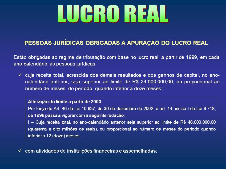 PESSOAS JURÍDICAS OBRIGADAS A APURAÇÃO DO LUCRO REAL Estão obrigadas ao regime de tributação com base no lucro real, a partir de 1999, em cada ano-cal
