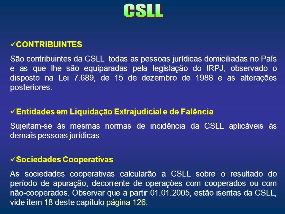 CONTRIBUINTES São contribuintes da CSLL todas as pessoas jurídicas domiciliadas no País e as que lhe são equiparadas pela legislação do IRPJ, observad