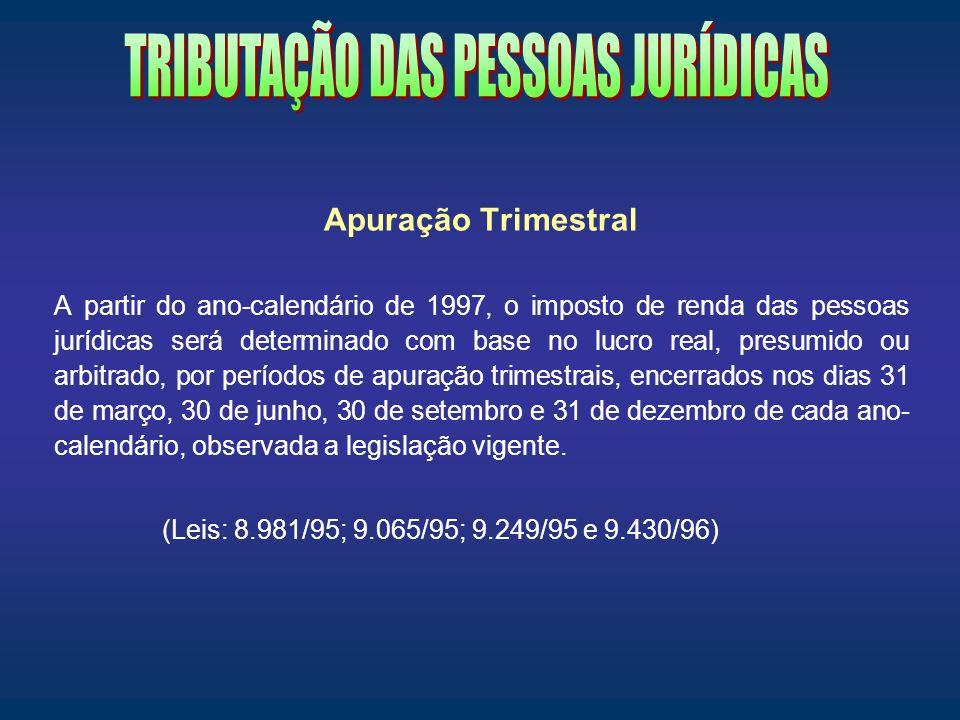 Apuração Trimestral A partir do ano-calendário de 1997, o imposto de renda das pessoas jurídicas será determinado com base no lucro real, presumido ou