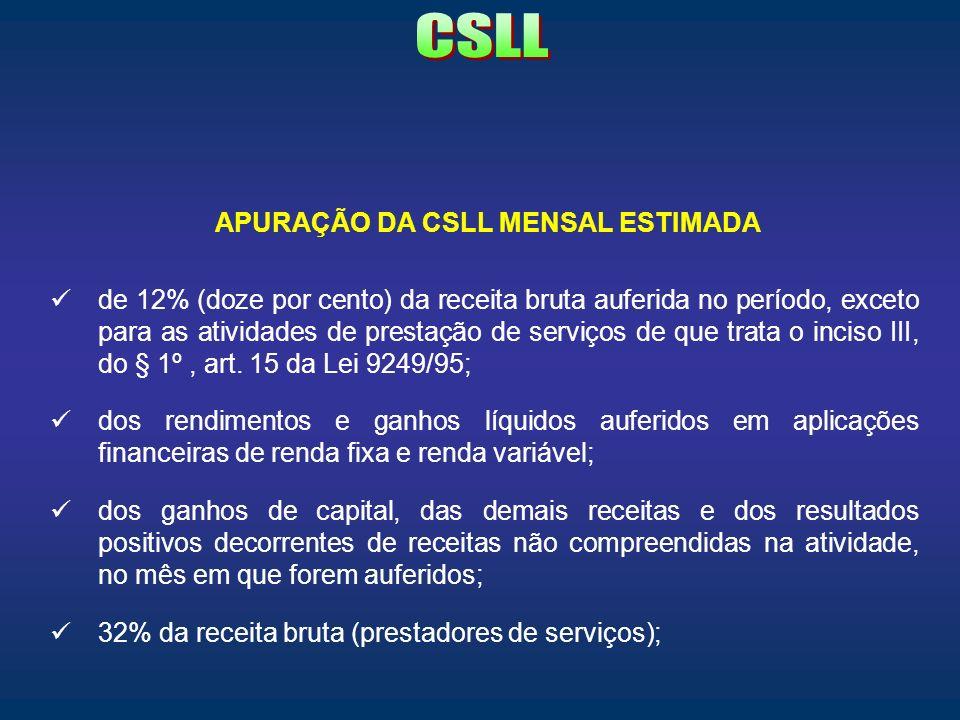 APURAÇÃO DA CSLL MENSAL ESTIMADA de 12% (doze por cento) da receita bruta auferida no período, exceto para as atividades de prestação de serviços de q
