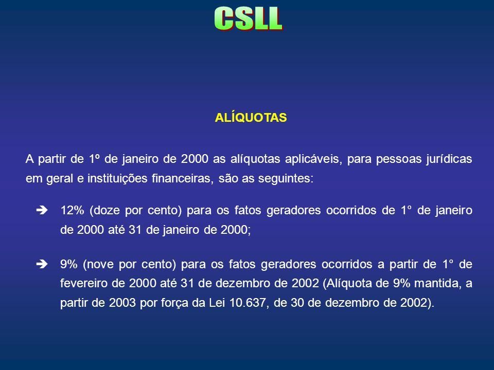 ALÍQUOTAS A partir de 1º de janeiro de 2000 as alíquotas aplicáveis, para pessoas jurídicas em geral e instituições financeiras, são as seguintes: 12%