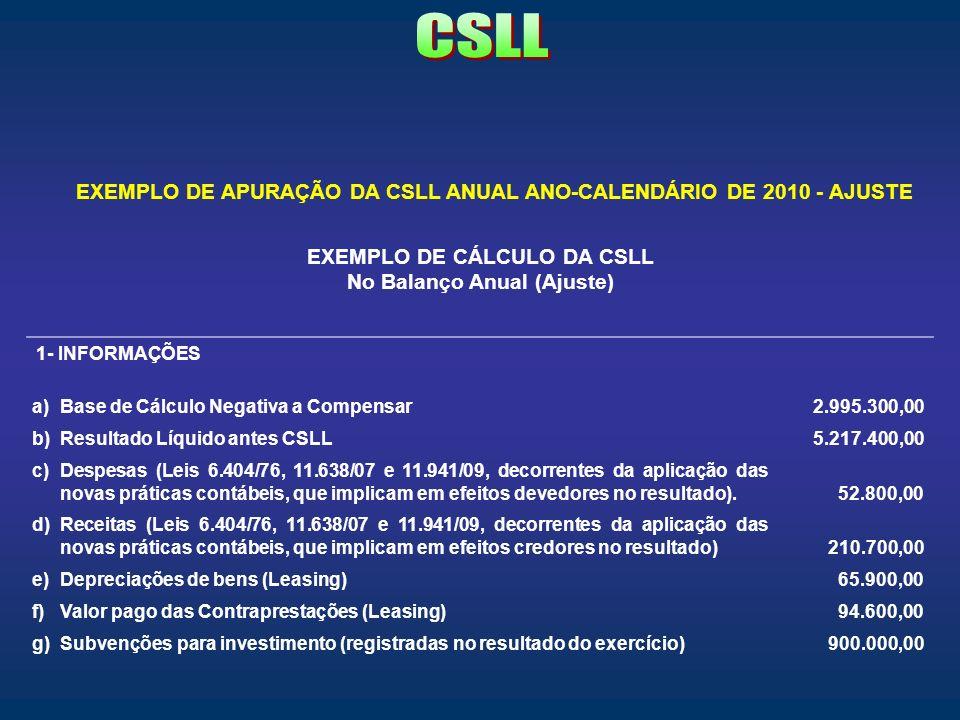 EXEMPLO DE APURAÇÃO DA CSLL ANUAL ANO-CALENDÁRIO DE 2010 - AJUSTE EXEMPLO DE CÁLCULO DA CSLL No Balanço Anual (Ajuste) 1- INFORMAÇÕES a)Base de Cálcul