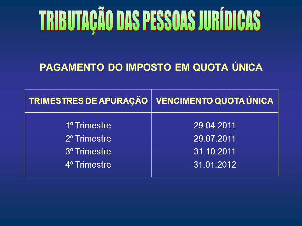 PAGAMENTO DO IMPOSTO EM QUOTA ÚNICA TRIMESTRES DE APURAÇÃOVENCIMENTO QUOTA ÚNICA 1º Trimestre 2º Trimestre 3º Trimestre 4º Trimestre 29.04.2011 29.07.