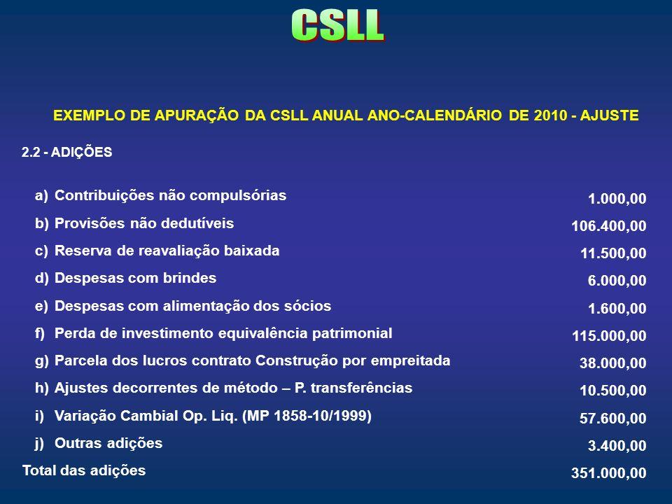 EXEMPLO DE APURAÇÃO DA CSLL ANUAL ANO-CALENDÁRIO DE 2010 - AJUSTE 2.2 - ADIÇÕES a)Contribuições não compulsórias 1.000,00 b)Provisões não dedutíveis 1