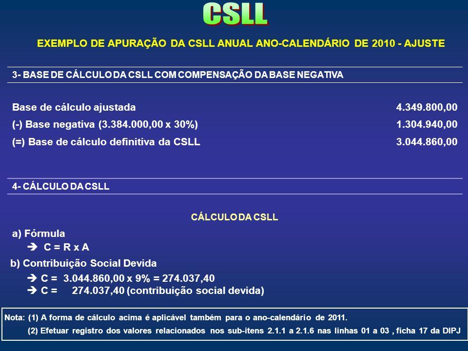 3- BASE DE CÁLCULO DA CSLL COM COMPENSAÇÃO DA BASE NEGATIVA Base de cálculo ajustada4.349.800,00 (-) Base negativa (3.384.000,00 x 30%)1.304.940,00 (=