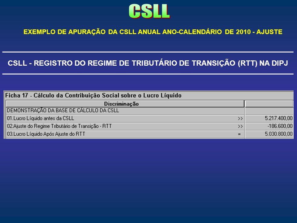 CSLL - REGISTRO DO REGIME DE TRIBUTÁRIO DE TRANSIÇÃO (RTT) NA DIPJ EXEMPLO DE APURAÇÃO DA CSLL ANUAL ANO-CALENDÁRIO DE 2010 - AJUSTE