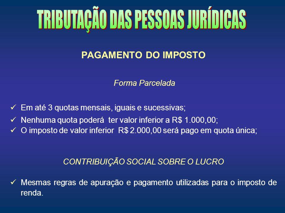 PAGAMENTO DO IMPOSTO Forma Parcelada Em até 3 quotas mensais, iguais e sucessivas; Nenhuma quota poderá ter valor inferior a R$ 1.000,00; O imposto de