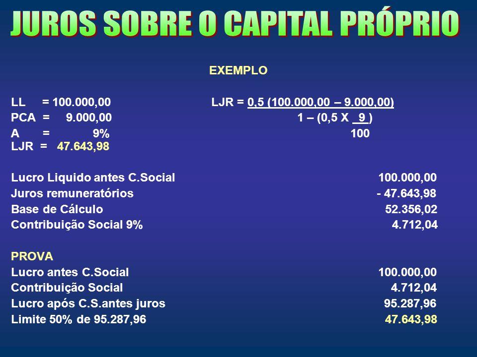 EXEMPLO LL = 100.000,00 LJR = 0,5 (100.000,00 – 9.000,00) PCA = 9.000,00 1 – (0,5 X 9 ) A = 9% 100 LJR = 47.643,98 Lucro Liquido antes C.Social 100.00