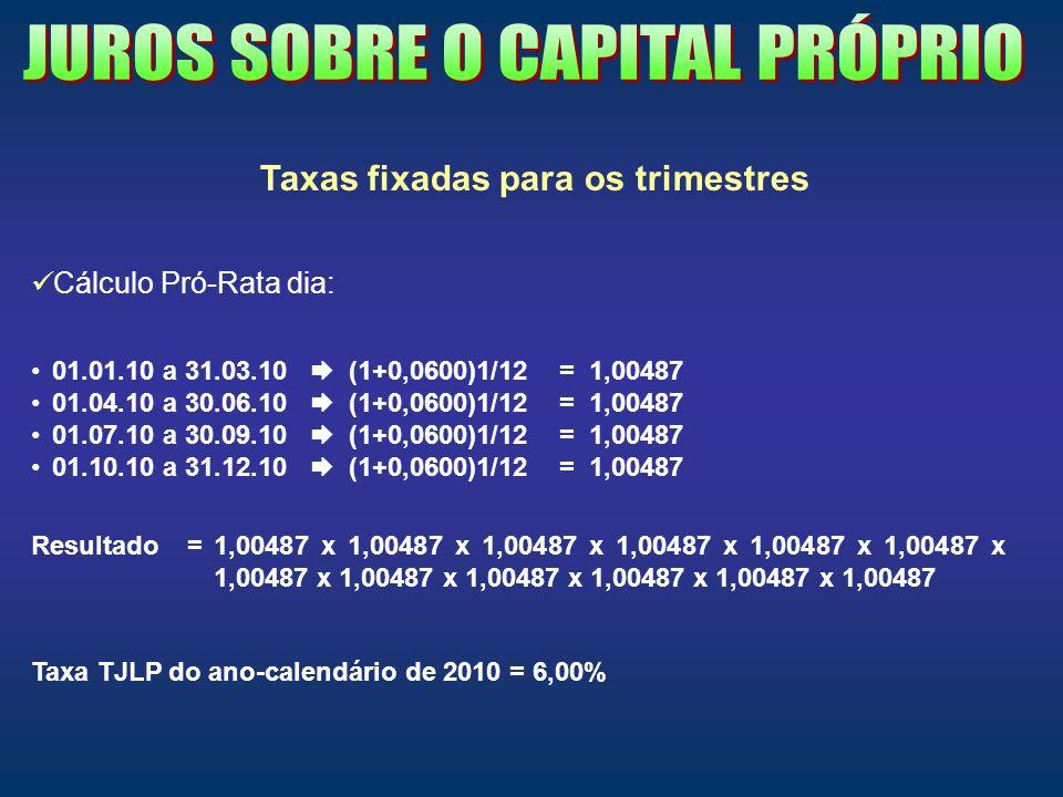 Taxas fixadas para os trimestres Cálculo Pró-Rata dia: 01.01.10 a 31.03.10 (1+0,0600)1/12 = 1,00487 01.04.10 a 30.06.10 (1+0,0600)1/12 = 1,00487 01.07
