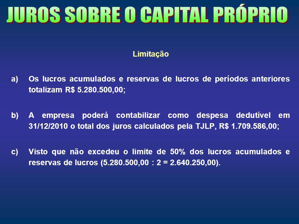 Limitação a)Os lucros acumulados e reservas de lucros de períodos anteriores totalizam R$ 5.280.500,00; b)A empresa poderá contabilizar como despesa d
