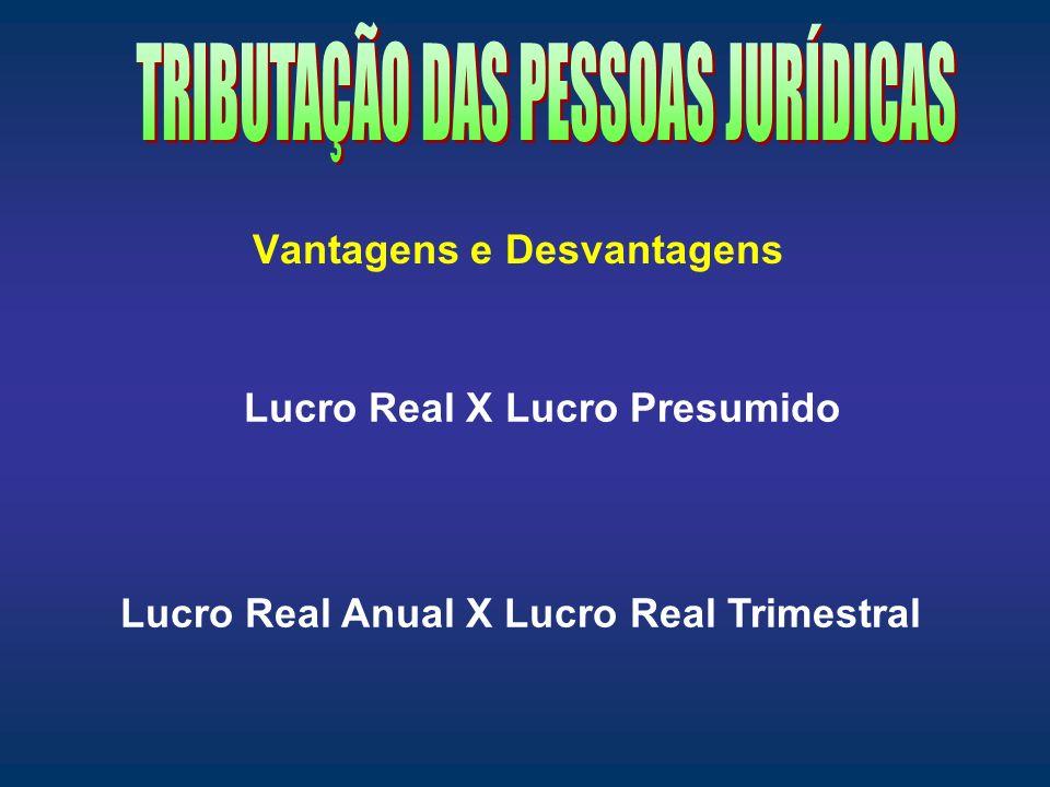 Vantagens e Desvantagens Lucro Real X Lucro Presumido Lucro Real Anual X Lucro Real Trimestral