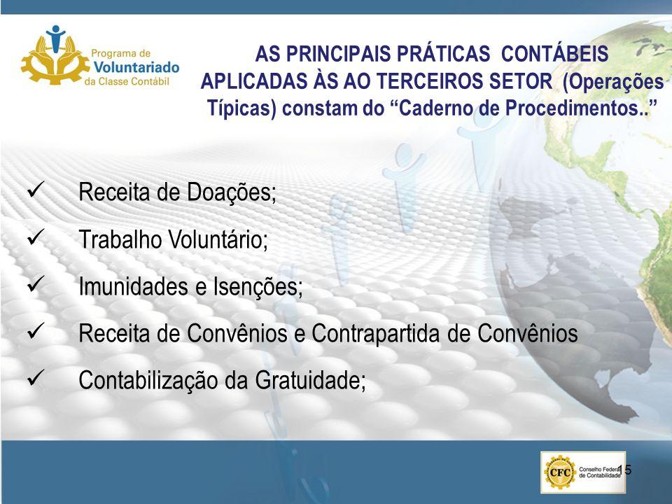 AS PRINCIPAIS PRÁTICAS CONTÁBEIS APLICADAS ÀS AO TERCEIROS SETOR (Operações Típicas) constam do Caderno de Procedimentos..