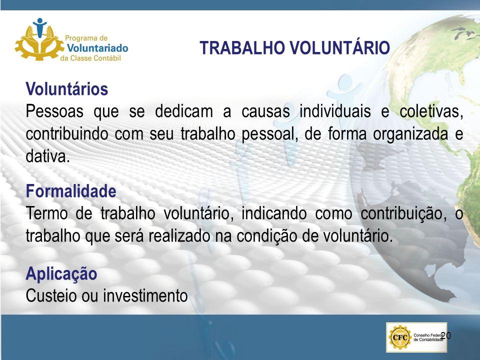 Voluntários Pessoas que se dedicam a causas individuais e coletivas, contribuindo com seu trabalho pessoal, de forma organizada e dativa. TRABALHO VOL