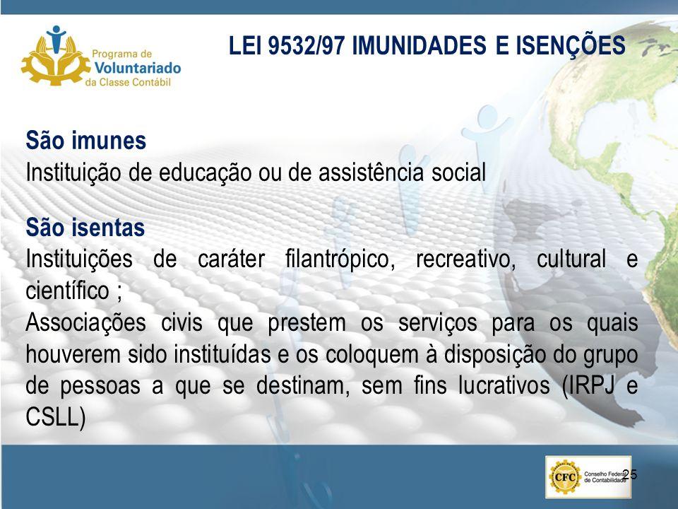 São imunes Instituição de educação ou de assistência social LEI 9532/97 IMUNIDADES E ISENÇÕES São isentas Instituições de caráter filantrópico, recrea