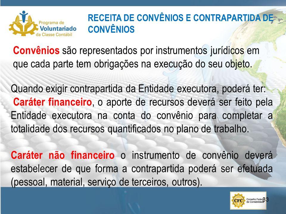 Convênios são representados por instrumentos jurídicos em que cada parte tem obrigações na execução do seu objeto. RECEITA DE CONVÊNIOS E CONTRAPARTID