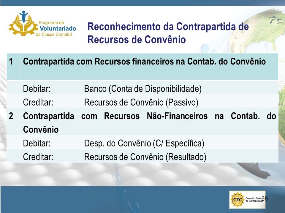Reconhecimento da Contrapartida de Recursos de Convênio 1Contrapartida com Recursos financeiros na Contab. do Convênio Debitar:Banco (Conta de Disponi