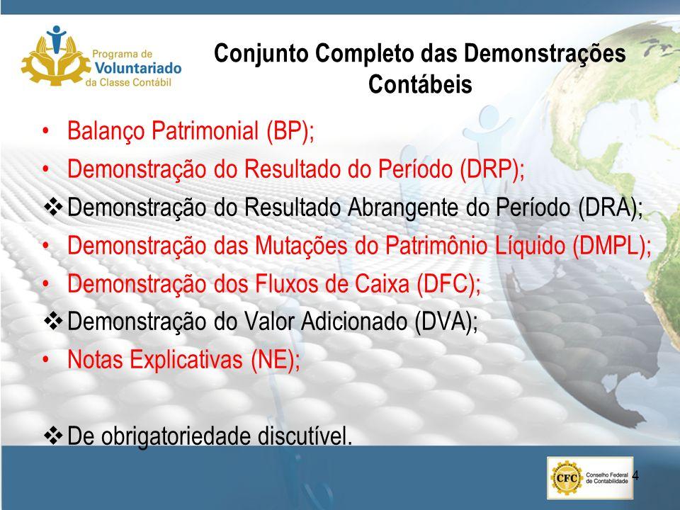 Conjunto Completo das Demonstrações Contábeis Balanço Patrimonial (BP); Demonstração do Resultado do Período (DRP); Demonstração do Resultado Abrangen