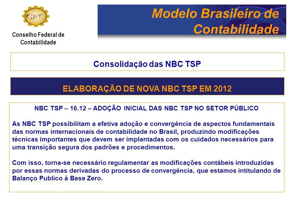 Modelo Brasileiro de Contabilidade Conselho Federal de Contabilidade Consolidação das NBC TSP NBC TSP – 16.12 – ADOÇÃO INICIAL DAS NBC TSP NO SETOR PÚ