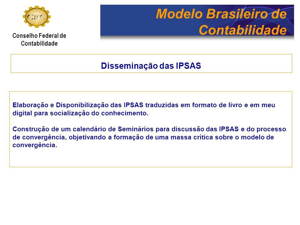 Modelo Brasileiro de Contabilidade Conselho Federal de Contabilidade Disseminação das IPSAS Elaboração e Disponibilização das IPSAS traduzidas em form