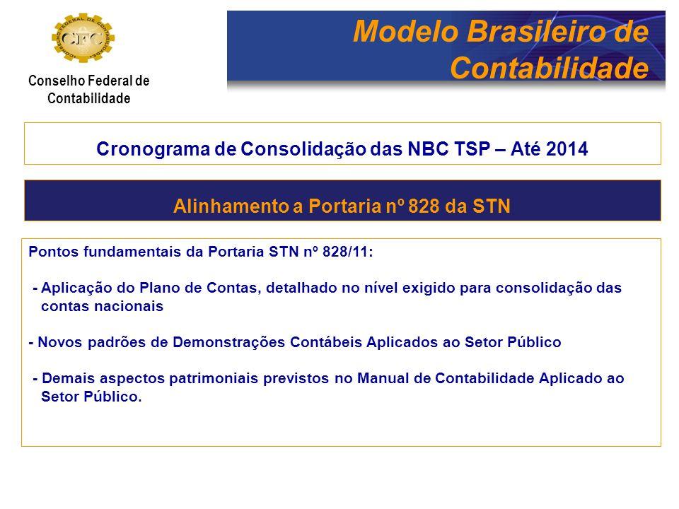Modelo Brasileiro de Contabilidade Conselho Federal de Contabilidade Cronograma de Consolidação das NBC TSP – Até 2014 Pontos fundamentais da Portaria