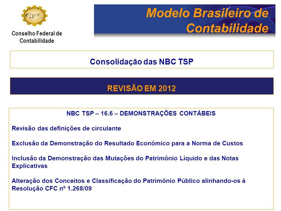 Modelo Brasileiro de Contabilidade Conselho Federal de Contabilidade Consolidação das NBC TSP NBC TSP – 16.10 - AVALIAÇÃO E MENSURAÇÃO DE ATIVOS E PASSIVOS EM ENTIDADES DO SETOR PÚBLICO Mudança do título da norma para trocar avaliação por reconhecimento Alinhamento de conceitos com as Normas Brasileiras de Contabilidade Técnica Geral, a exemplo de valor recuperável, valor justo, etc.