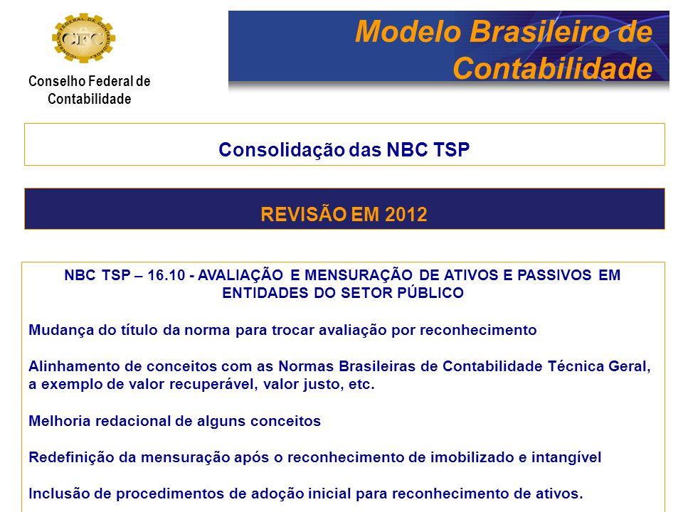 Modelo Brasileiro de Contabilidade Conselho Federal de Contabilidade Consolidação das NBC TSP NBC TSP – 16.11 - SISTEMA DE INFORMAÇÃO DE CUSTOS DO SETOR PÚBLICO Inclusão da Demonstração do Resultado Econômico e ampliação das formas de apuração do Resultado Econômico, incluindo outras formas de apuração do custo, além do custo de oportunidade.