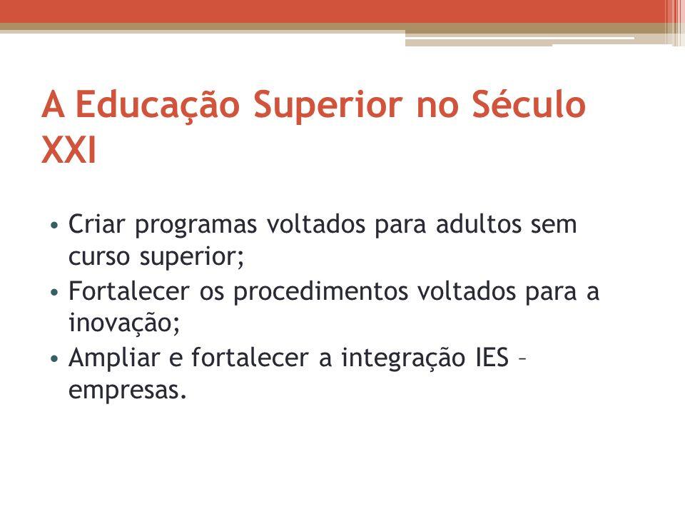 A Educação Superior no Século XXI Criar programas voltados para adultos sem curso superior; Fortalecer os procedimentos voltados para a inovação; Ampl