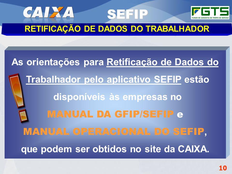 Planejamento Estratégico SUFUG 2009 Gerência de Filial Administrar FGTS – GIFUG/CB RETIFICAÇÃO DE DADOS DO TRABALHADOR As orientações para Retificação