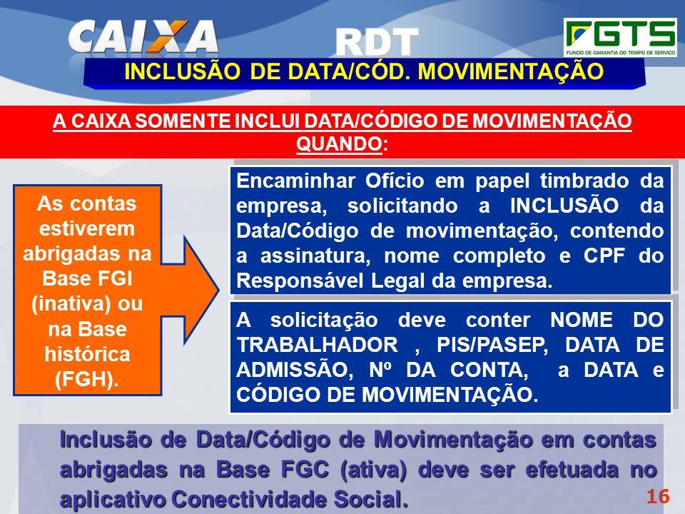 Planejamento Estratégico SUFUG 2009 16 Encaminhar Ofício em papel timbrado da empresa, solicitando a INCLUSÃO da Data/Código de movimentação, contendo
