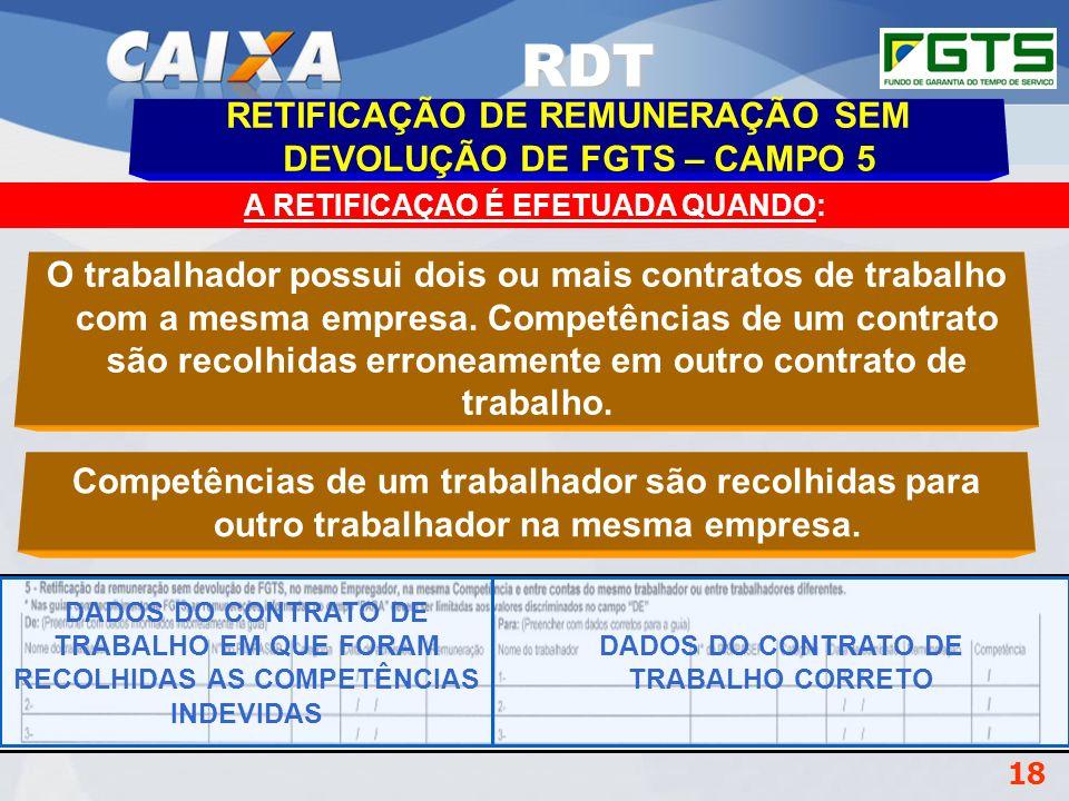 Planejamento Estratégico SUFUG 2009 18 A RETIFICAÇAO É EFETUADA QUANDO: RETIFICAÇÃO DE REMUNERAÇÃO SEM DEVOLUÇÃO DE FGTS – CAMPO 5 O trabalhador possu