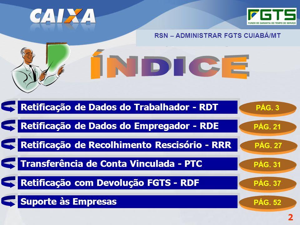 Planejamento Estratégico SUFUG 2009 RSN Administrar o FGTS – Cuiabá/MT Informações da empresa Informações da guia Informações dos empregados RDF