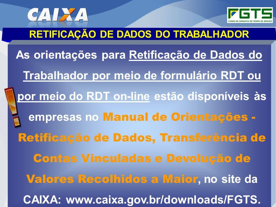 Planejamento Estratégico SUFUG 2009 20 RETIFICAÇÃO DE DADOS DO TRABALHADOR As orientações para Retificação de Dados do Trabalhador por meio de formulá