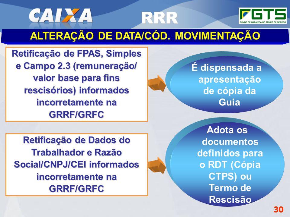 Planejamento Estratégico SUFUG 2009 30 RSN – ADMINISTRAR FGTS CUIABÁ/MT Retificação de FPAS, Simples e Campo 2.3 (remuneração/ valor base para fins re