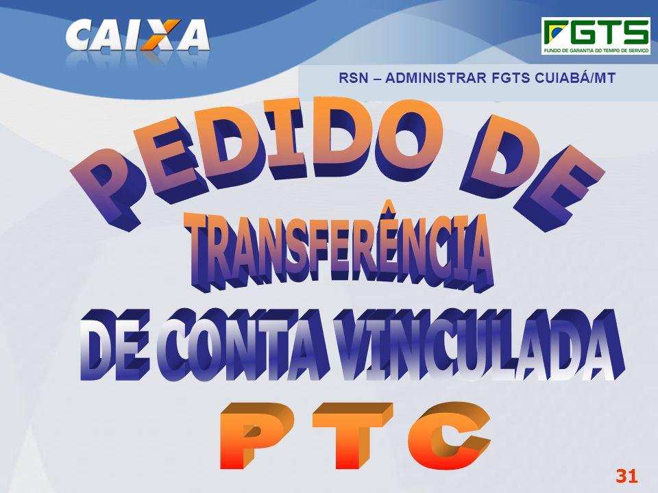 Planejamento Estratégico SUFUG 2009 31 RSN – ADMINISTRAR FGTS CUIABÁ/MT