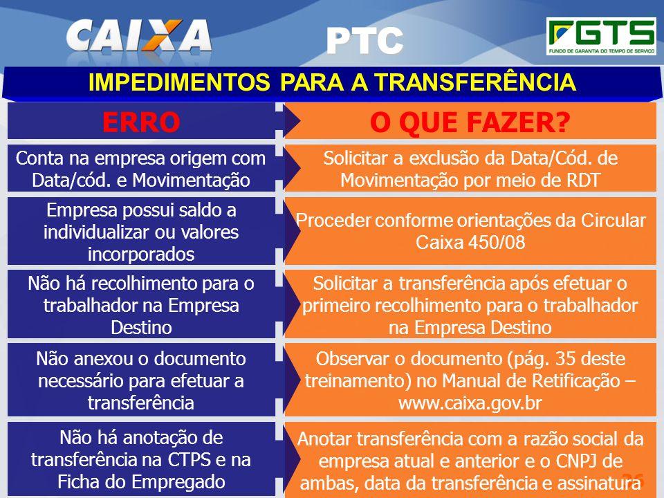 Planejamento Estratégico SUFUG 2009 36 RSN – ADMINISTRAR FGTS CUIABÁ/MT IMPEDIMENTOS PARA A TRANSFERÊNCIA PTC Solicitar a exclusão da Data/Cód. de Mov