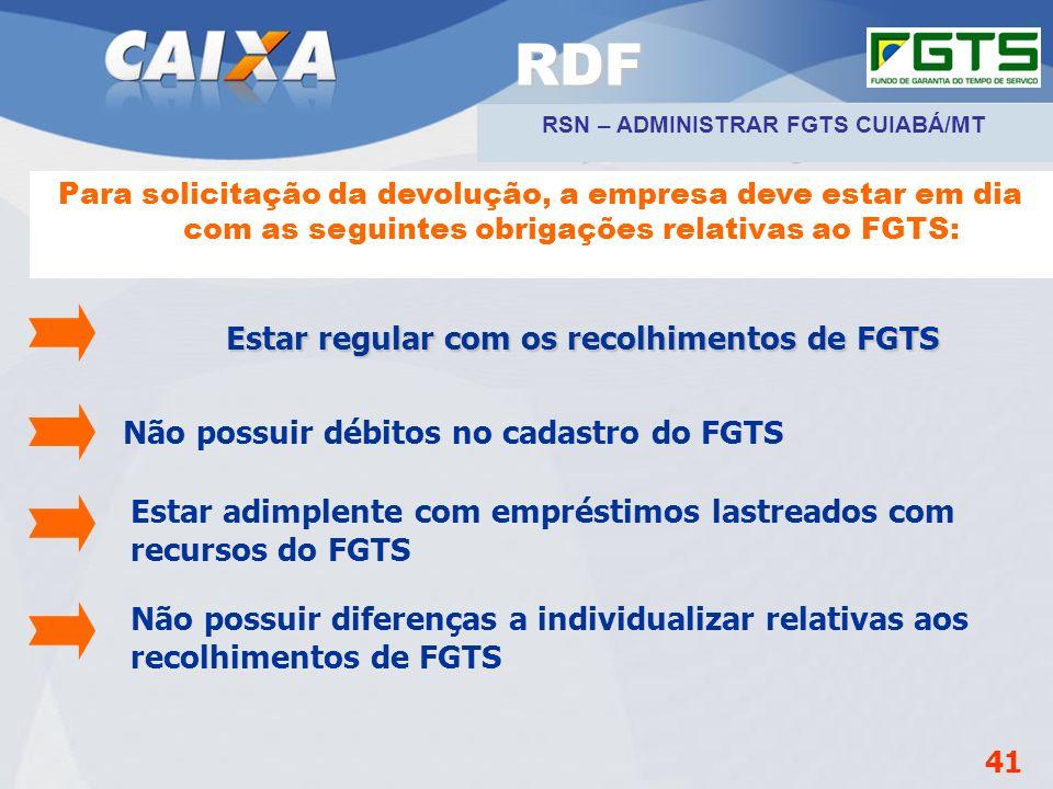 Planejamento Estratégico SUFUG 2009 Para solicitação da devolução, a empresa deve estar em dia com as seguintes obrigações relativas ao FGTS: Estar re