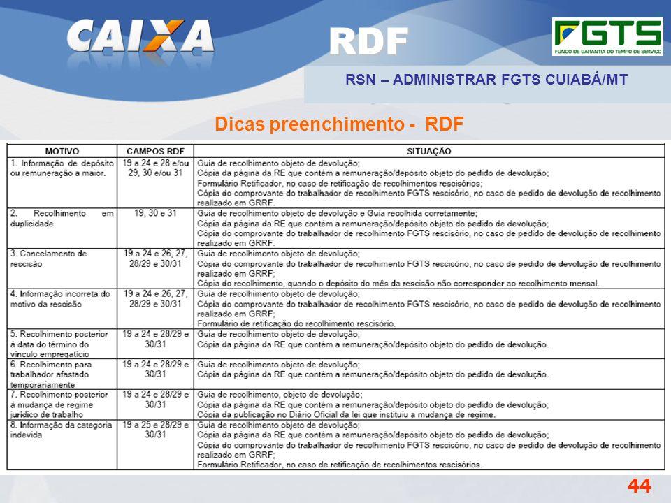 Planejamento Estratégico SUFUG 2009 Dicas preenchimento - RDF 44 RDF RSN – ADMINISTRAR FGTS CUIABÁ/MT