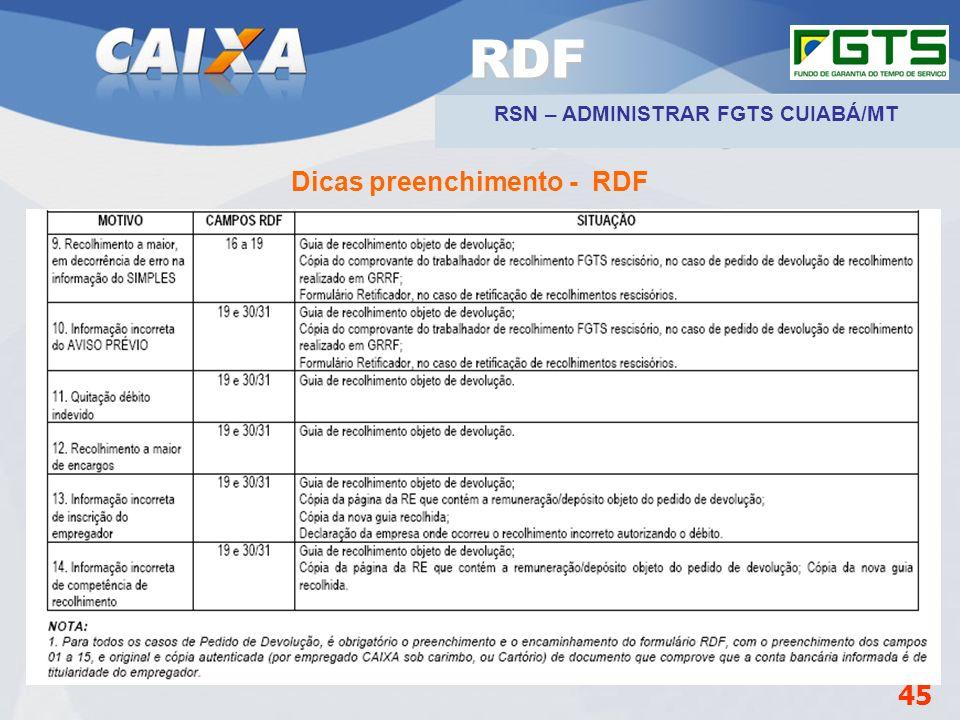 Planejamento Estratégico SUFUG 2009 Dicas preenchimento - RDF 45 RDF RSN – ADMINISTRAR FGTS CUIABÁ/MT