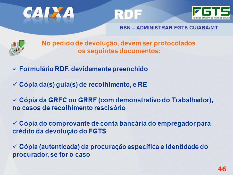Planejamento Estratégico SUFUG 2009 No pedido de devolução, devem ser protocolados os seguintes documentos: Formulário RDF, devidamente preenchido Cóp