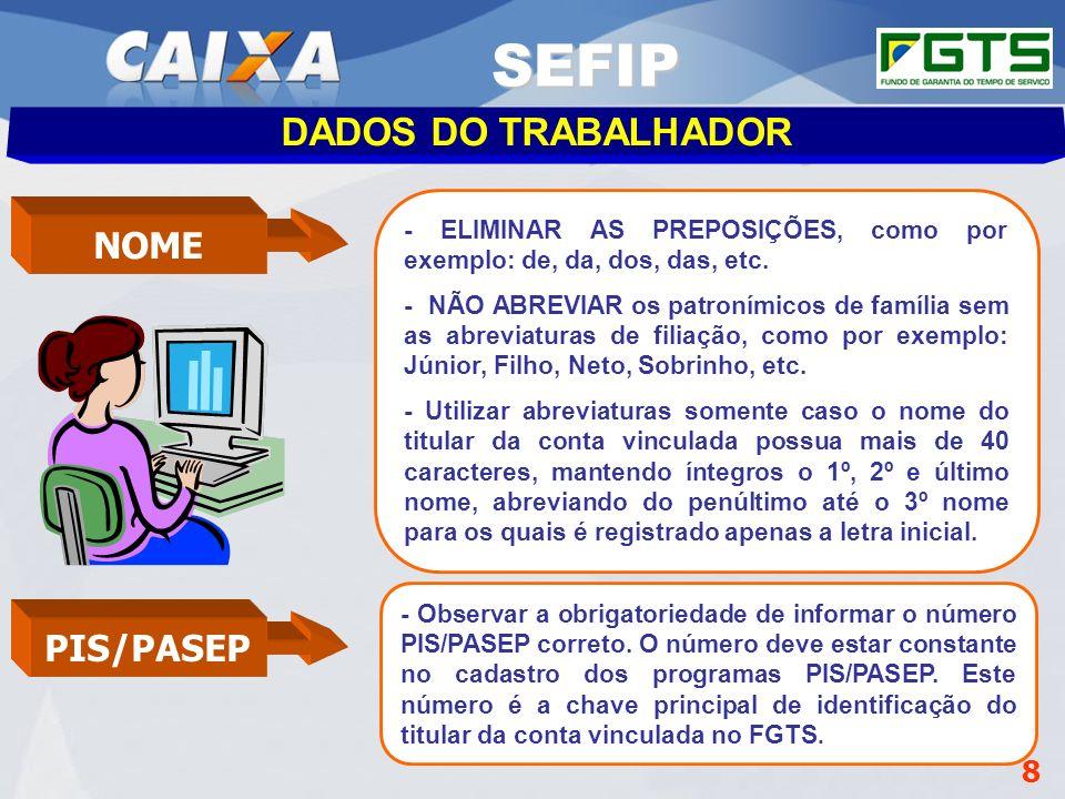 Planejamento Estratégico SUFUG 2009 8 DADOS DO TRABALHADOR SEFIP NOME - ELIMINAR AS PREPOSIÇÕES, como por exemplo: de, da, dos, das, etc. - NÃO ABREVI