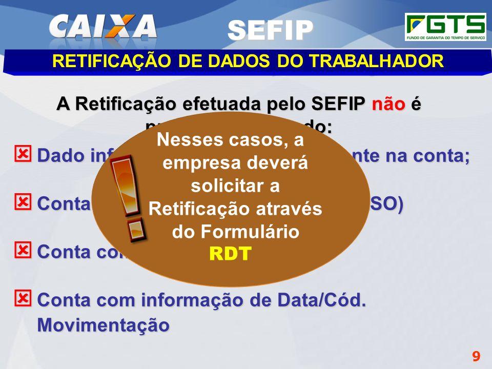Planejamento Estratégico SUFUG 2009 9 RETIFICAÇÃO DE DADOS DO TRABALHADOR A Retificação efetuada pelo SEFIP não é processada quando: Dado informado é
