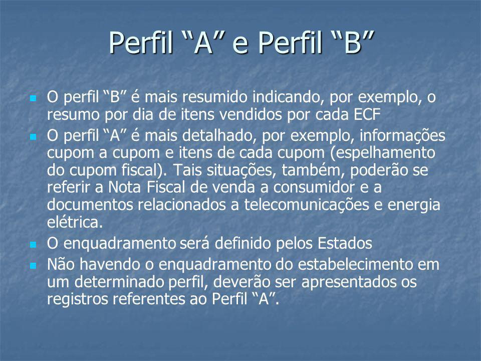 Perfil A e Perfil B O perfil B é mais resumido indicando, por exemplo, o resumo por dia de itens vendidos por cada ECF O perfil A é mais detalhado, po