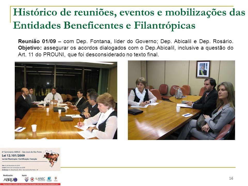 16 Reunião 01/09 – com Dep. Fontana, líder do Governo; Dep. Abicalil e Dep. Rosário. Objetivo: assegurar os acordos dialogados com o Dep.Abicalil, inc