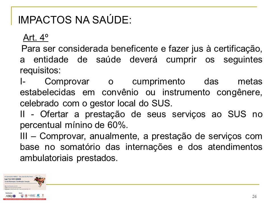 26 IMPACTOS NA SAÚDE: Art. 4º Para ser considerada beneficente e fazer jus à certificação, a entidade de saúde deverá cumprir os seguintes requisitos: