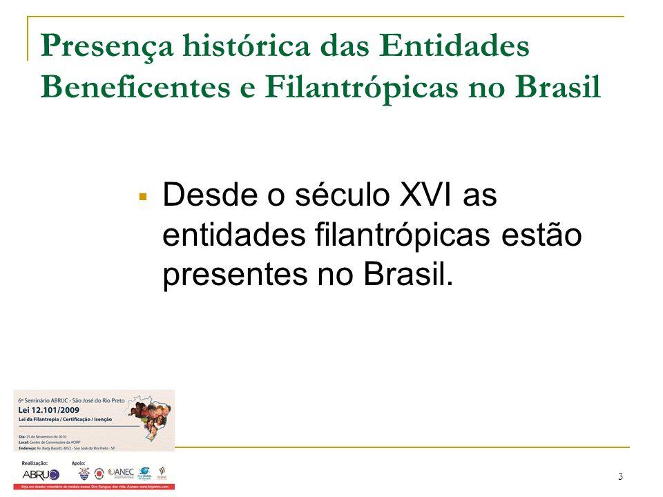 4 Presença histórica das Entidades Beneficentes e Filantrópicas no Brasil Por amor à humanidade, por caridade, por solidariedade: FILANTROPIA.