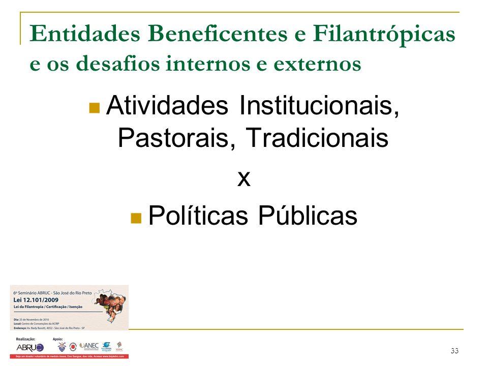 33 Entidades Beneficentes e Filantrópicas e os desafios internos e externos Atividades Institucionais, Pastorais, Tradicionais x Políticas Públicas